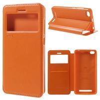 Luxy PU kožené pouzdro s okýnkem na Xiaomi Redmi 3 - oranžové