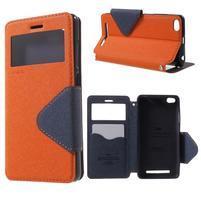 Diary view peněženkové pouzdro na Xiaomi Redmi 3 - oranžové