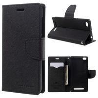 Diary PU kožené pouzdro na mobil Xiaomi Redmi 3 - černé