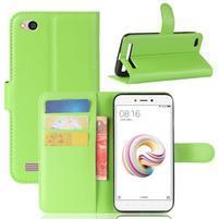 Wallet PU kožené pouzdro na Xiaomi Redmi 5A - zelené