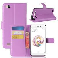 Wallet PU kožené pouzdro na Xiaomi Redmi 5A - fialové