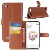 Wallet PU kožené pouzdro na Xiaomi Redmi 5A - hnědé