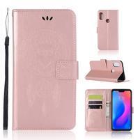 Owl PU kožené peněženkové pouzdro na Xiaomi Redmi Note 6 Pro - růžovozlaté
