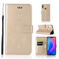 Owl PU kožené peněženkové pouzdro na Xiaomi Redmi Note 6 Pro - zlaté