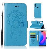 Owl PU kožené peněženkové pouzdro na Xiaomi Redmi Note 6 Pro - modré