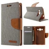 Stylové textilní/PU kožené pouzdro na Samsung Galaxy Core Prime - šedé