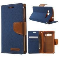 Štýlové textilné/PU kožené puzdro pre Samsung Galaxy Core Prime - jeans