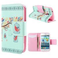 Peňaženkové puzdro pre Samsung Galaxy S Duos / Trend Plus - vtáčik v klietke