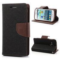 Diary pouzdro na mobil Samsung Galaxy S Duos/Trend Plus - černé/hnědé