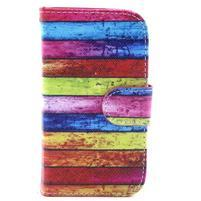 Peněženkové pouzdro na Samsung Galaxy S3 mini - barvy dřeva