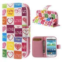 Peněženkové pouzdro na Samsung Galaxy S3 mini - srdce