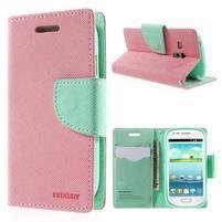 Diary peněženkové pouzdro na mobil Samsung Galaxy S3 mini - růžové/azurové