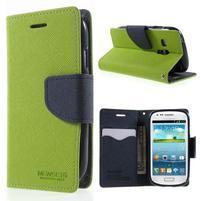 Diary peněženkové pouzdro na mobil Samsung Galaxy S3 mini - zelené/tmavěmodré
