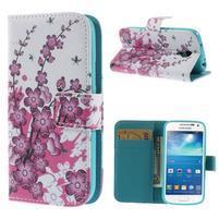 Peněženkové pouzdro pro Samsung Galaxy S4 mini - květoucí větvička