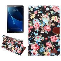 Květinové pouzdro na tablet Samsung Galaxy Tab A 10.1 (2016) - černé