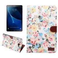 Květinové pouzdro na tablet Samsung Galaxy Tab A 10.1 (2016) - bílé
