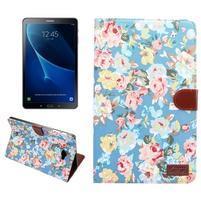 Květinové pouzdro na tablet Samsung Galaxy Tab A 10.1 (2016) - modré