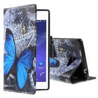 Peněženkové pouzdro na mobil Sony Xperia M2 - modrý motýl