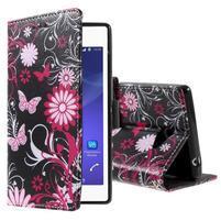 Peněženkové pouzdro na mobil Sony Xperia M2 - motýlci