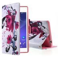 Peněženkové pouzdro na mobil Sony Xperia M2 - květy
