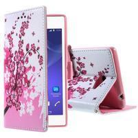 Peněženkové pouzdro na mobil Sony Xperia M2 - kvetoucí větvička