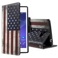 Peněženkové pouzdro na mobil Sony Xperia M2 - US vlajka