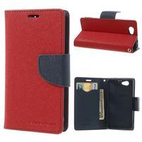 Fancy peněženkové pouzdro na Sony Xperia Z1 Compact - červené