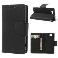 Fancy peněženkové pouzdro na Sony Xperia Z1 Compact - černé