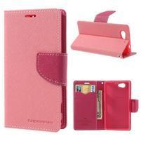 Fancy peněženkové pouzdro na Sony Xperia Z1 Compact - růžové