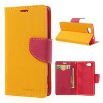 Fancy peněženkové pouzdro na Sony Xperia Z1 Compact - žluté
