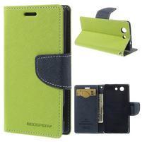 Diary peněženkové pouzdro na mobil Sony Xperia Z3 Compact - zelené