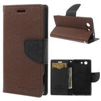 Diary peněženkové pouzdro na mobil Sony Xperia Z3 Compact - hnědé