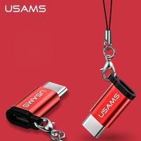 USAMS redukce pro Micro USB na USB typ C - červená
