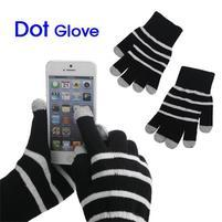 Pruhované rukavice pro práci s mobilem - černé