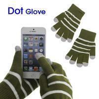 Pruhované rukavice pro práci s mobilem - army zelené
