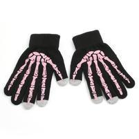 Skeleton rukavice na dotykové telefony - černé/růžové