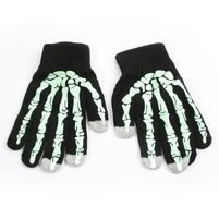Skeleton rukavice na dotykové telefony - černé/zelené