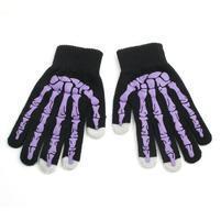 Skeleton rukavice na dotykové telefony - černé/fialové