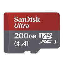 Vysokorychlostní paměťová karta SanDisk Ultra microSDHC 200 GB 100 MB/s A1 Class 10 UHS-I, Android včetně SD adaptéru