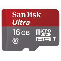 Vysokorychlostní paměťová karta SanDisk Ultra microSDHC 16 GB 98 MB/s Class 10 UHS-I, Android včetně SD adaptéru