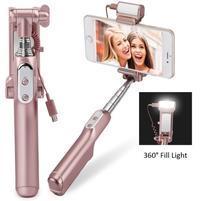 Funs bezdrátová selfie tyč s LED osvětlením pro noční foto - růžovozlatá