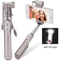 Funs bezdrátová selfie tyč s LED osvětlením pro noční foto - zlatá