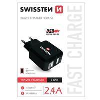 Univerzální nabíječka na mobil 2 vstupy USB - černá