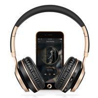 BT08 multifunkční bluetooth sluchátka s mikrofonem - černá/zlatá