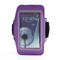 Sportovní pouzdro na ruku až do velikosti mobilu 140 x 70 mm - fialové