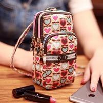Funs mini kapsičkový batůžek pro mobily až do 160 x 80 mm a další předměty - srdíčka