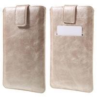 Univerzálne flipové puzdro pre mobily do 150 x 85 mm - zlatoružové