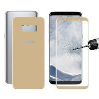Sada přední a zadní celoplošné tvrzené sklo na Samsung Galaxy S8 Plus - zlatá