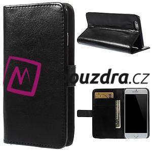 Peněženkové PU kožené pouzdro na iPhone 6, 4.7 - černé - 1