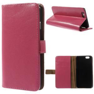 Peněženkové PU kožené pouzdro na iPhone 6, 4.7 - růžové - 1